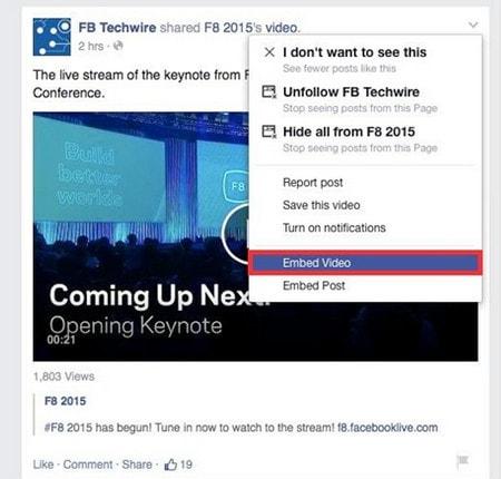 Nhúng video facebook lên website, chèn video lên website