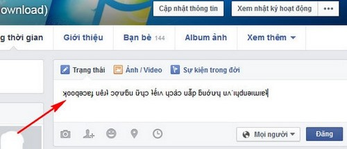 viet chu nguoc trong facebook