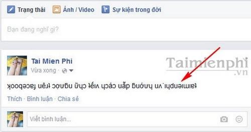 Cách viết chữ ngược trên Facebook