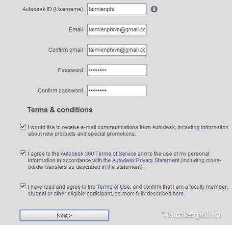 Tạo tài khoản Autodesk (tài khoản Autodesk giáo dục)