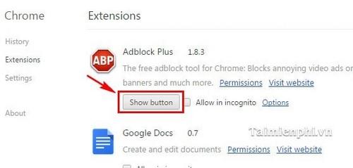Google Chrome - Ẩn/ hiện tiện ích mở rộng (Extensions)