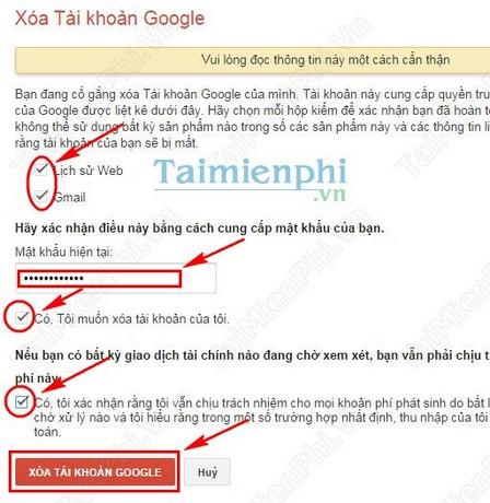 Xóa Gmail, delete tài khoản Gmail khỏi Google