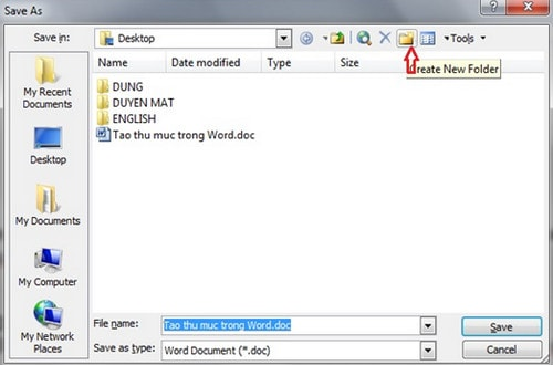 Tạo thư mục lưu trong văn bản Word 5
