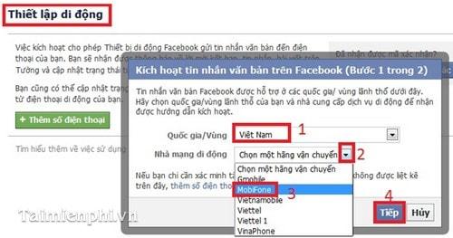 Facebook - Cập nhật trạng thái Facebook qua tin nhắn SMS