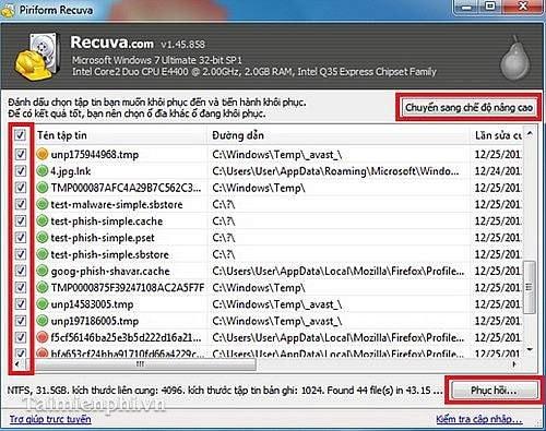 Recuva - Download Recuva 1 53 1087, Khôi phục dữ liệu bị mất trên wind