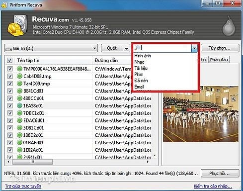 Recovering deleted data with Recuva