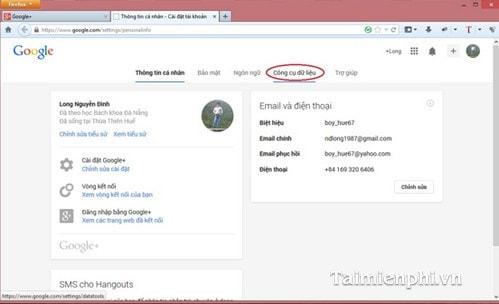 Cách sao lưu, backup dữ liệu trên Google+