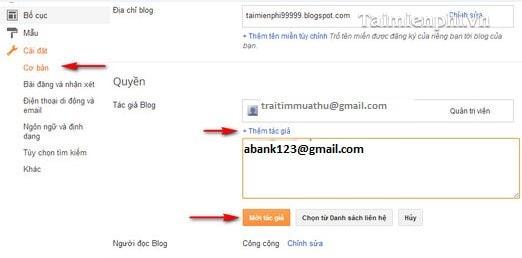 Tạo thêm tài khoản quản trị trong Blogger