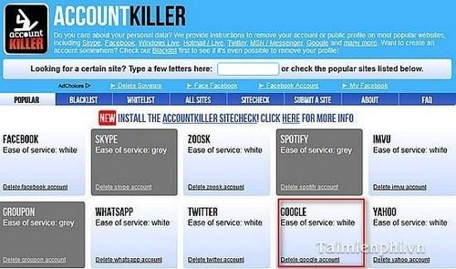 Xóa nhiều tài khoản trực tuyến bằng AccountKiller
