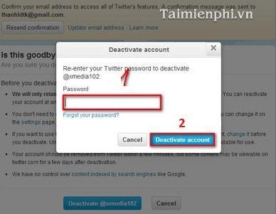 Cách xóa Twitter, delete tài khoản Twitter vĩnh viễn trên máy tính