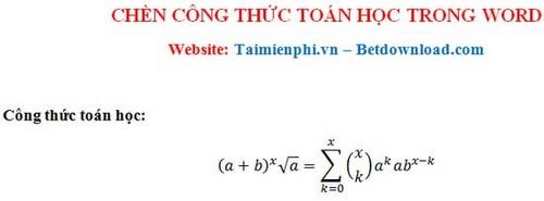 nhap cong thuc toan hoc tren word 2013