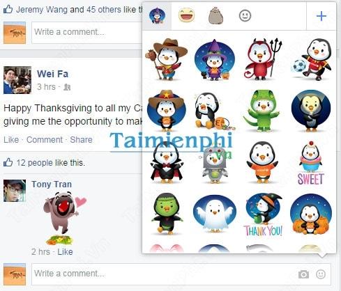 Facebook đã cho phép người dùng bình luận bằng Sticker