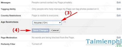 Facebook - Giới hạn độ tuổi thành viên tham gia Fanpage Facebook
