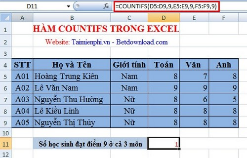 ham countifs trong excel 2007