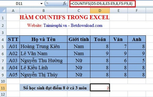 ham countifs trong excel 2010