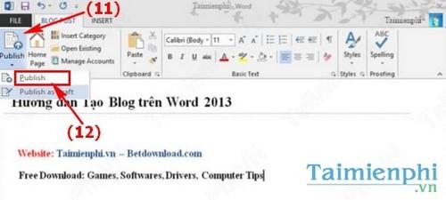 Cách tạo Blog trên Word 2013 nhanh và đơn giản