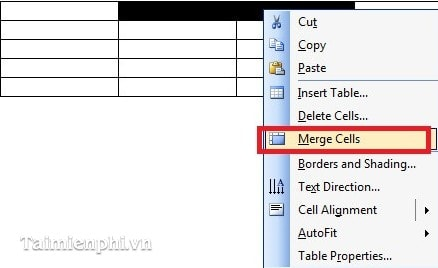 Chia và gộp ô cho các Table, bảng biểu trong Word 4