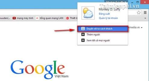 Google Chrome - Kích hoạt tính năng Guest Browsing