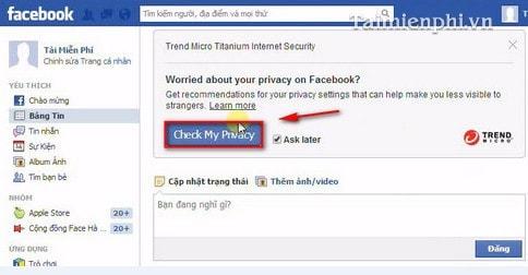 Facebook - Kiểm tra tính bảo mật bằng Titanium