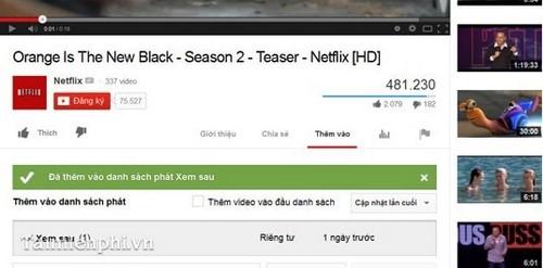 Lưu lại Video để xem lại trên YouTube