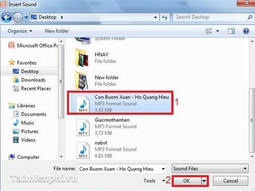 cách chèn âm thanh vào powerpoint 2010