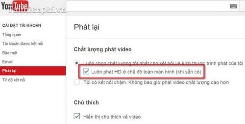 Thiết lập kích cỡ và chất lượng Video YouTube khi phát