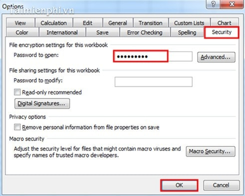how to create password for excel file 2007