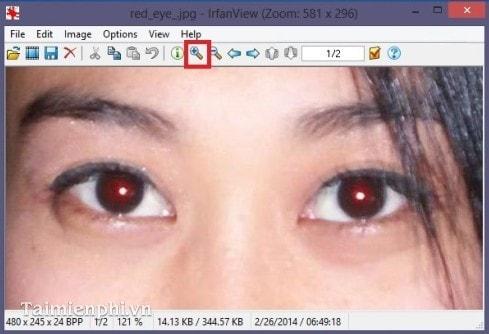 Sửa lỗi mắt đỏ bằng IrfanView