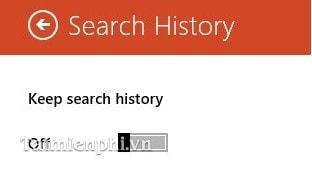 Tắt và xóa lịch sử tìm kiếm Bing Search trên Windows 8/8.1