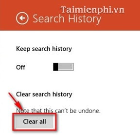 turn off and remove search history bing search on windows 8 8 1