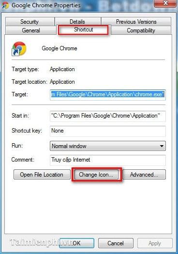 Thay đổi icon trình duyệt Google Chrome ngoài Desktop