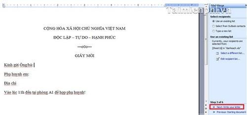 Cách trộn thư trong Word, trộn văn bản Word 22