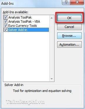 Excel - Cài đặt và gỡ bỏ Add In trong Excel 2010 3