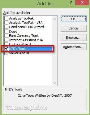 Cách đổi số thành chữ trong bảng tính Excel bằng VnTools 2010, 2013, 2007, 2003, 2016  17