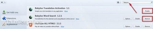 Gỡ Babylon Toolbar trên trình duyệt IE, Firefox và Chrome