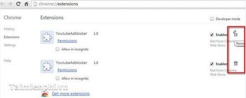 Gỡ tiện ích, add ons (Extension) trên trình duyệt Google Chrome