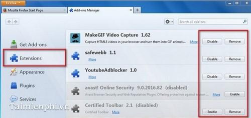 Firefox - Gỡ bỏ tiện ích (Add-ons) khỏi trình duyệt