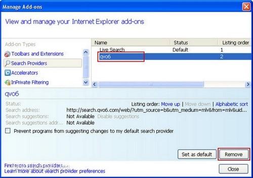 Gỡ bỏ Qvo6 khỏi trình duyệt Firefox, Chrome, IE