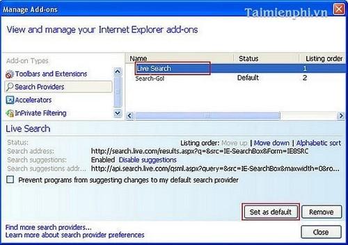 Gỡ bỏ Search-Gol khỏi trình duyệt Firefox, Chrome, IE