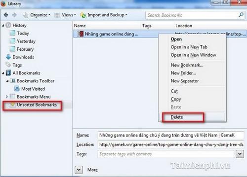 Firefox - Cách xóa một Bookmark trên trình duyệt