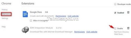 Bật/tắt IDM CC trên trình duyệt Firefox, Google Chrome