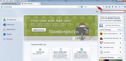 Cách thêm 1 Add-ons mới vào Firefox