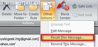 Lấy lại Email đã gửi trong MS Outlook 2007