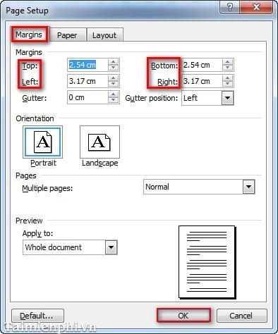 Cách căn lề trong Word chuẩn khổ giấy 12
