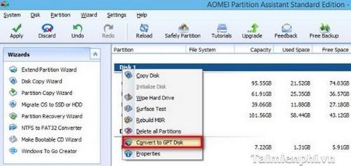 Chuyển đổi MBR sang GPT trên ổ cứng không mất dữ liệu với Aomei Partition Assistant 3