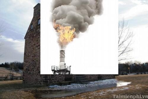 Photoshop - Lồng ghép hình ảnh khói lửa vào tòa nhà