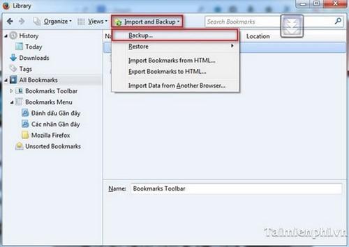 Quản lý Bookmark duyệt Firefox, sử dụng dấu trang trên Firefox