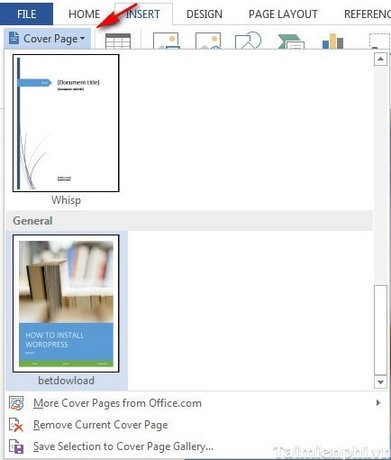 word create a word document cover in 2013