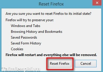 Thiết lập lại chế độ mặc định cho trình duyệt Firefox