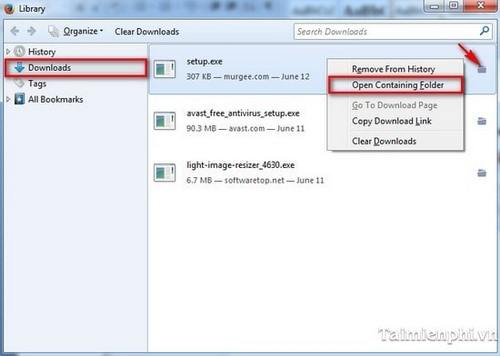 Firefox - Search the file storage folder download